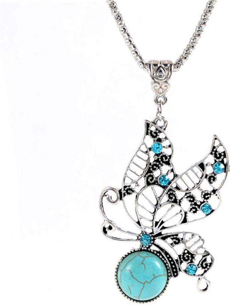 Roapk Joyería De Moda Piedra Natural Vintage Tibetano Plata Mariposa Colgante Collar Mujeres Amantes Regalos De San Valentín