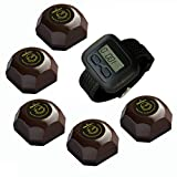 SINGCALL Wireless Restaurant Service Calling System,for Cinema,Pack of 5 pcs Table Buttons and 1 pc Wrist Watch Reciever