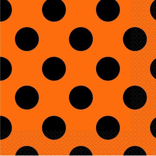 Orange & Black Polka Dot Halloween Party Napkins, 16ct ()