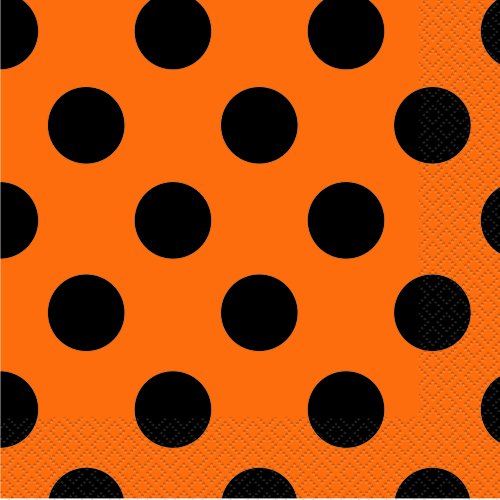 Orange Black Polka Halloween Napkins