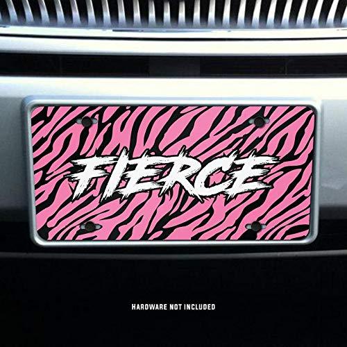 Fierce Pink Tiger Stripes Printed Vanity Front License Plate Tag KCFP090 KCD