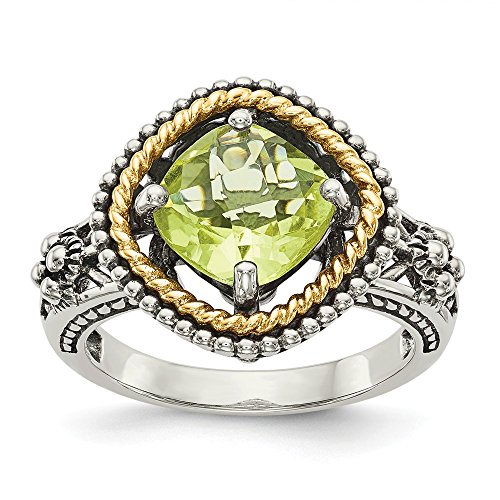 Mia Diamonds Sterling Silver with 14k Yellow Gold with Lemon Quartz Ring (Gold Lemon Quartz Ring)