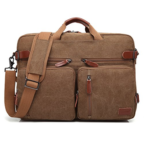 CoolBELL Convertible Backpack Messenger Bag Shoulder Bag Laptop Case Handbag Business Briefcase Multi-Functional Travel Rucksack Fits 17.3 Inch Laptop for Men/Women (Canvas Coffee)