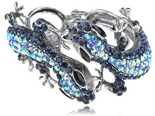 Alilang Silvery Golden Blue Topaz Multicolored Rhinestones Lizard Gecko Reptile Bangle Cuff Bracelet