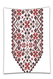 Interestlee Satin drill Tablecloth?Ethnic Ukrainian Embroidery Style Floral Ornamental Nostalgic Vintage Artisan Design Dark Coral Brown Dining Room Kitchen Rectangular Table Cover Home Decor