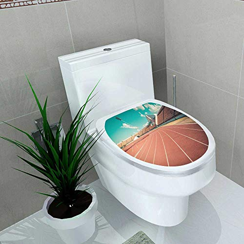 Toilet Seat Wall Stickers Paper red Runn Track in Stadium Runn Track on Blue Sky Field Run in Stadium Background Decals DIY Decoration W13 x L13