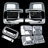 08-15 Ford F250+F350+F450 Super Duty Triple Chrome Plated Mirror, 4 Door Handle without Passenger Keyhole, Tailgate Handle without Camera Hole Cover