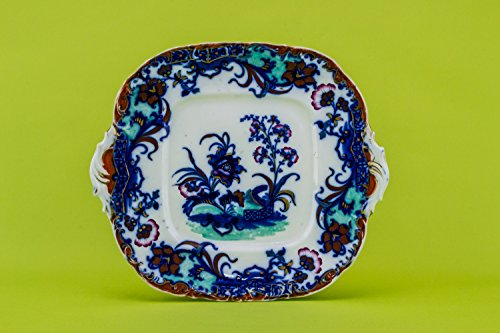High Victorian Porcelain Floral 9.8'' Carlton Antique PLATE Blue And White Opulent Unique Dinner Cake English 1860s LS