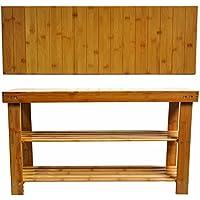 ziyue 2-Tier Shoe Storage Racks Shelf 100% Natural Bamboo Shoe Bench Storage Benches (902845 CM, Standard)