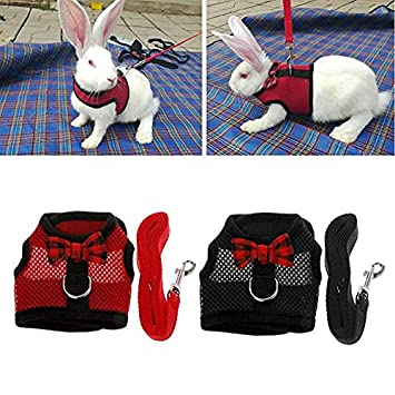 Kismaple Rabbit Harness and Lead Set with Cute Bow Tie and Bell Mesh Adjustable Vest Harness for Small Animals Bunny Kitten S, Black + Pink + Red