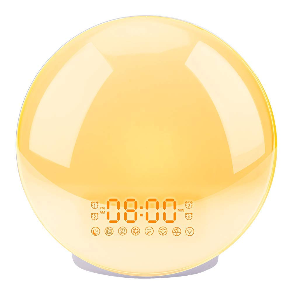 Sunrise Alarm Clock, LBell Upgrade Smart Wake Up Light Compatible with Alexa/Echo/Google, 8 Colors Sunrise Simulation and Sunset Fading Night Light for Bedrooms with FM Radio/ 4 Alarms/Snooze by LBell