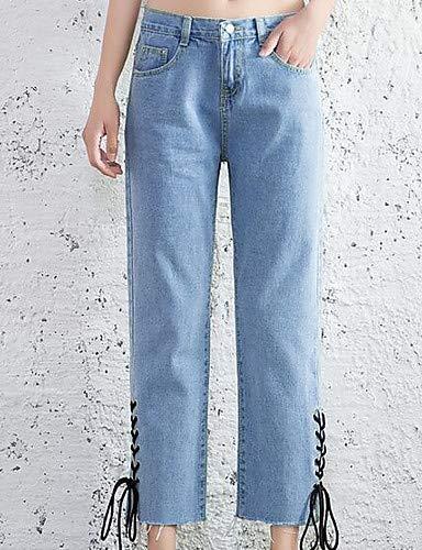da YFLTZ chino tinta cotone Pantaloni donna in Blue unita zqFAIq