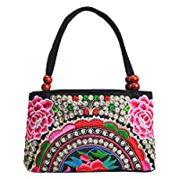 Cupcinu Double-Sided Embroidery Bag Embroidery Ethnic Shoulder Bags Chinese Style Women Handbag Fashion Handmade Ladies Tote Shoulder Bags Cross-body size 27x10x18 cm (Peony Pink)