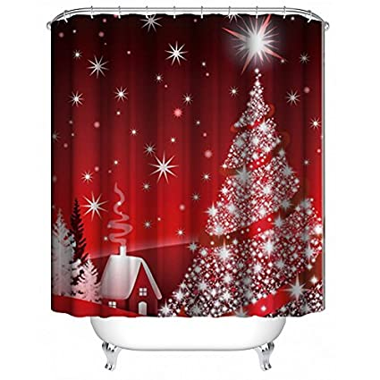Image Unavailable Not Available For Color ALDECOR Christmas Tree Shower Curtain Waterproof Fabric