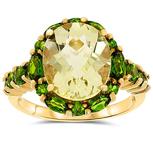 10k Yellow Gold, Oval Shape Yellow Quartz and Chome Diopside Halo Ring