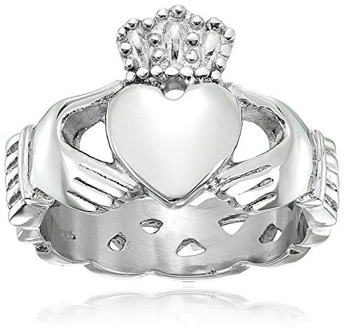 Crucible Jewelry Mens Stainless Steel Claddagh with Celtic Knot Eternity Design Ring, Size 11, White