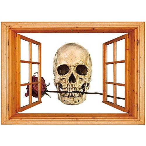 3D Depth Illusion Vinyl Wall Decal Sticker [ Gothic Decor,Skull with Dry Red Rose in Teeth Anatomy Death Eye Socket Jawbone Halloween Art Decorative, Window Frame Style Home Decor Art -