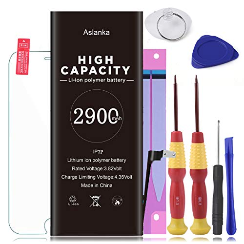 Aslanka Battery for iP7 Plus,New 0 Cycle of 2900 mAh Replacement Battery, Full Set of Repair Tools Include Adhesive & Instruction and Screen Protector -[2 Year Warranty]