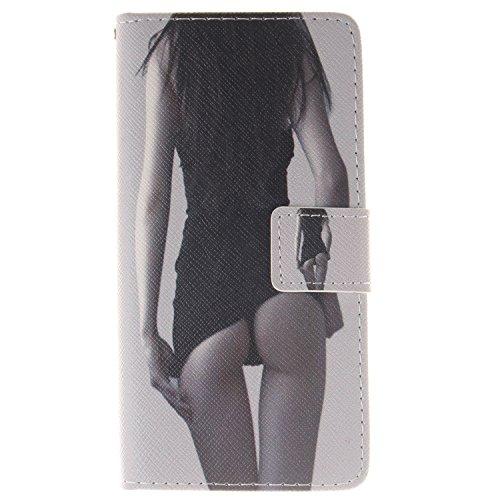 Funda para Huawei P8 Lite, Flip funda de cuero PU para Huawei P8 Lite, Huawei P8 Lite Leather Wallet Case Cover Skin Shell Carcasa Funda, Ukayfe Cubierta de la caja Funda protectora de cuero caso del  Sexy Girl