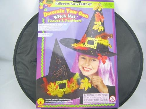Halloween Holiday Leaves Feather Decorate Witch Hat Costume Trick Or Treat Craft