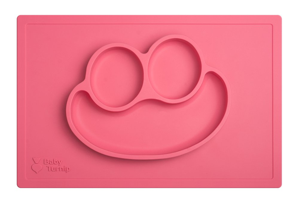 Bebé Turnip divertido comida salvamanteles - silicona bebé placa y manteles individuales rosa rosa: Amazon.es: Bebé