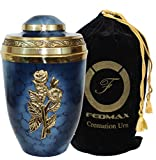 Cremation Urn for Ashes, for Adults up to 250lbs, Blue Funeral Burial Urns Made from Brass w/Satin Bag for Human Ashes.