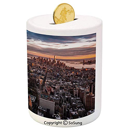 (USA Ceramic Piggy Bank,Aerial View of The Manhattan Skyline at Sunset Famous Financial District NYC 3D Printed Ceramic Coin Bank Money Box for Kids & Adults,Blue Orange White)