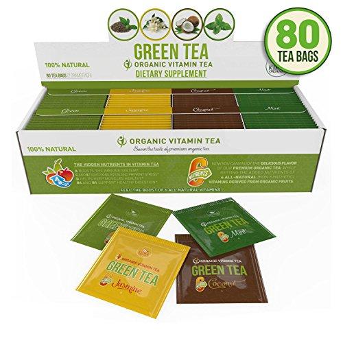 Organic Green Tea - Variety Pack - 80 Tea Bags - 20 of Each Flavor (2 grams each)by Kiss Me Organics