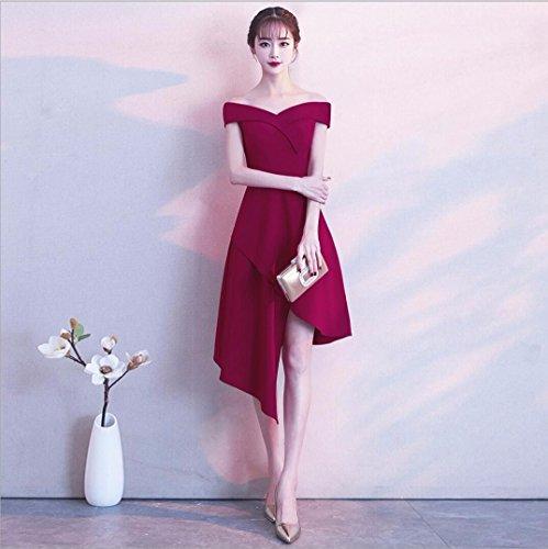 Corto Vestido Largo Plazo de Frente Longitud a Vestido Corto de Vestido Nuevo WBXAZL Banquete Invierno Estilo Jujube Moda Hombro de Rojo Noche Femenina wYpdCxFq
