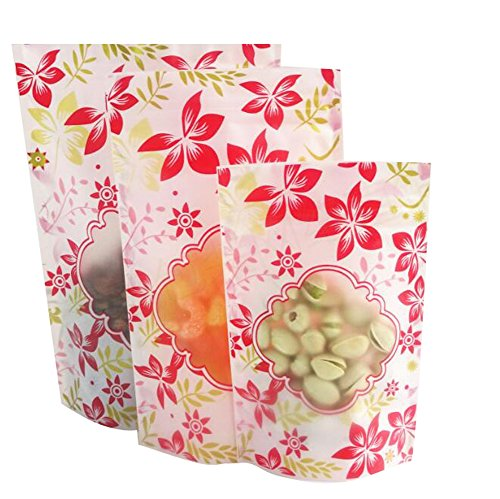 100PCS Red Flower Zip Lock Mini Bag Self Zipper Pouch Bag Food Storage Smell Proof Flat Ziplock Bag with Tear Notches Mini Sample Giveaway Bag Wrapping Food Storage Tea Candy Pack (1015+3cm) -