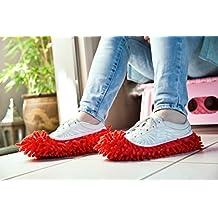 MareLight 2pcs Multi Function Chenille Fibre Washable Dust Mop Slippers Cleaning Shoes (Orange)
