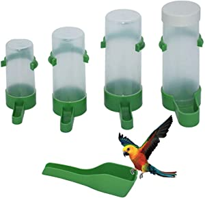 YUESUO 5Pcs Automatic Bird Feeder Bird Cage Water Dispenser Food Bottle Bowl Hanging Drinker Container Suppliers for Parrots Parakeets Budgie Cockatiel Lovebirds Finch