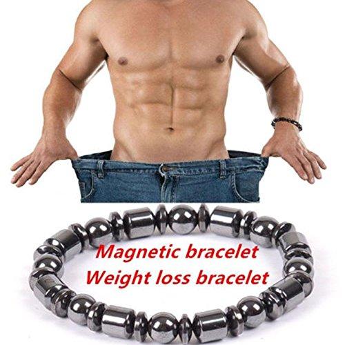 MSmask Magnetic Therapy Bracelet Weight Loss Unisex Round Black Stone Slimmy Health - Bracelet Set Radiant