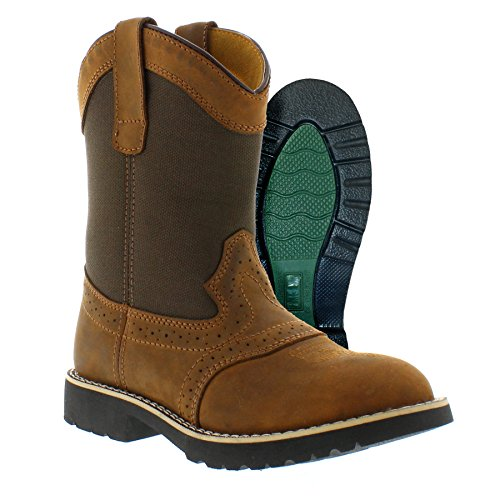 - Itasca Unisex Youth Pull-on Leather/Nylon Buckaroo Western Boot, Brown, 6.0 Standard US Width US Big Kid