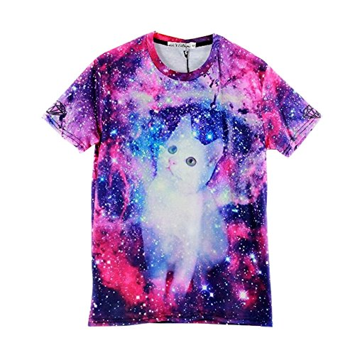 Unisex Hipster Clothing Galaxy T shirt Funny Cute Fat Cat 3D T-shirt - Cute Guys Hipster
