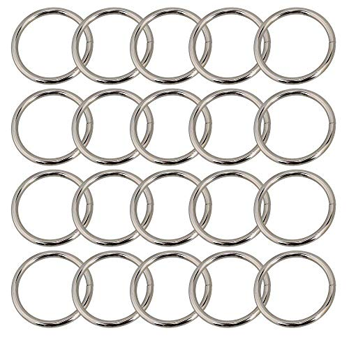 DLONY Set of 20 Metal Round O Rings Webbing Belts Buckle Slide for Bags Purse Craft 46x38mm Silver