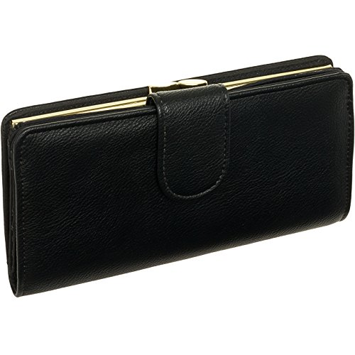 Kiss Lock Wallet (Mundi Women Leather Suburban Rio Clutch Checkbook Wallet (Black w/Gold Hardware))