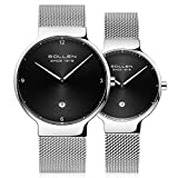 SOLLEN His and Hers 6.95mm Thickness Quartz Analog Waterproof Couple Wrist Watch 2 pcs for Lovers (Black)