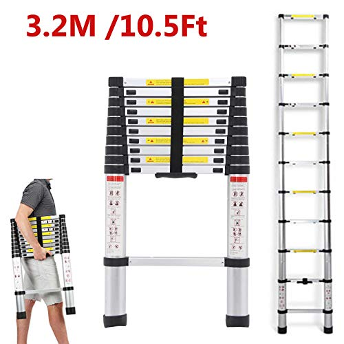 DICN 10.5 Feet Telescoping Ladders Extension Aluminum Light Weight Retractable Collapsible Straight Step Ladder 330lbs Capacity for Home Office Indoor Outdoor Loft Attic Roof Work DIY Builder