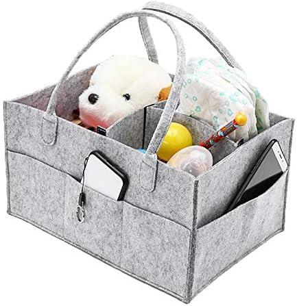 RUIQIMAO Baby Diaper Caddy Nursery Storage Bin Felt Basket Changing Organiser with 8 Pockets Baby Essentials Portablefor Child Infant Newborn Shower Gifts