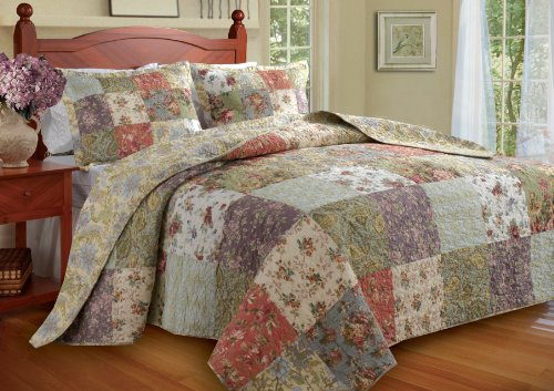 Greenland Home Blooming Prairie King 3-Piece Bedspread - Oversized Quilt X 118 120