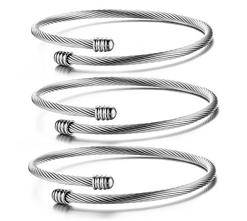 (Stainless Steel Triple 3 Stackable Cable Wire Twisted Cuff Bangle Bracelet for Women, silver)