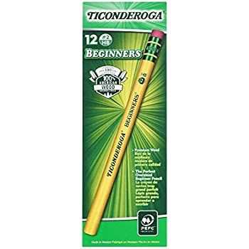 Ticonderoga Wood-Cased Beginner Pencils, 2 HB Soft, With Eraser, Yellow, 12 Count (13308)