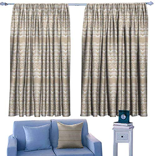 Mannwarehouse Tan and White Polyester Curtain Lace Style Antique Border Motifs Collection Vintage and Feminine Ornament Noise Reducing 72