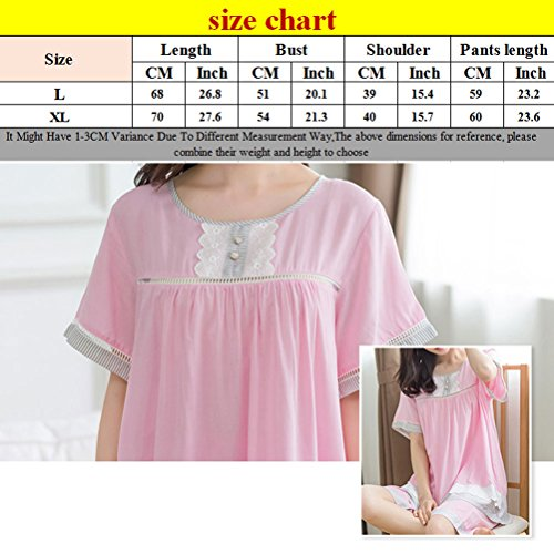 Zhhlinyuan Fashion Ladies Nightwear Cotton Sleepwear Set Light Pink