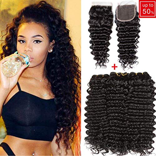 10A Virgin Peruvian Hair Deep Wave 3 Bundles With Closure Ocean Wave Wavy Human Hair Extensions and Closure Loose Deep Curly Hair Bundles Black Color (10 12 14+10 free part lace closure)