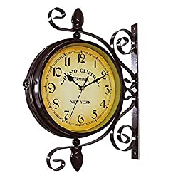 Wrought Iron Rotatable Double Sided Wall Clock Round Chandelier Wall Hanging Metal Clock Home Décor Wall Clock Art 360 Degree Rotation,Retro