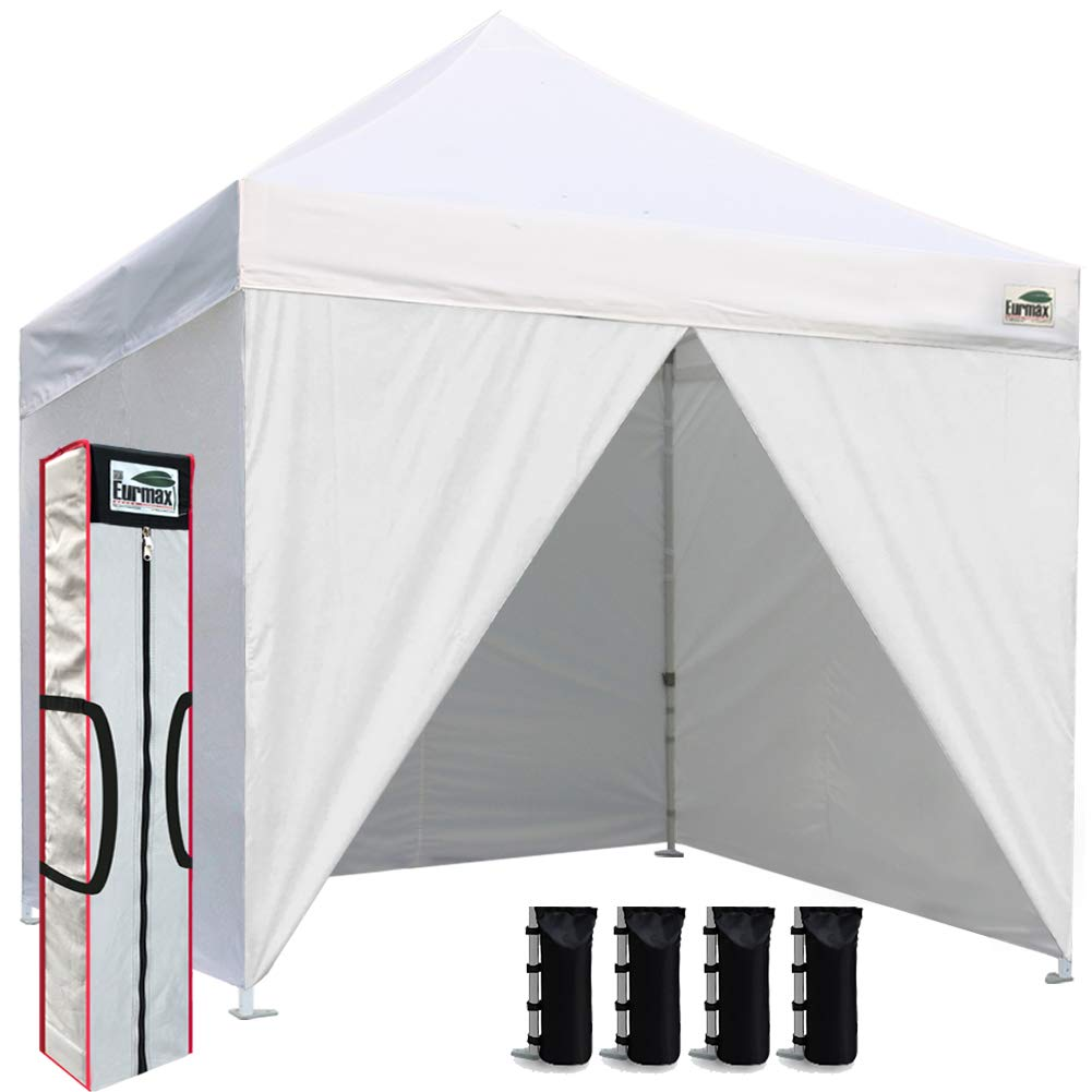 Eurmax 10ftx10ft Pop up Canopy Commercial Tent Outdoor Instant Canopies Party Shelter with 4 Zippered Sidewalls and Carry Bag Bonus Canopy Sand Bags(White)