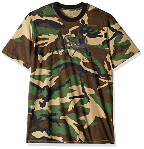 Exchange Short Sleeve T-shirt - A|X Armani Exchange Men's Short Sleeve Camoflauge T-Shirt, Green CAMO, M