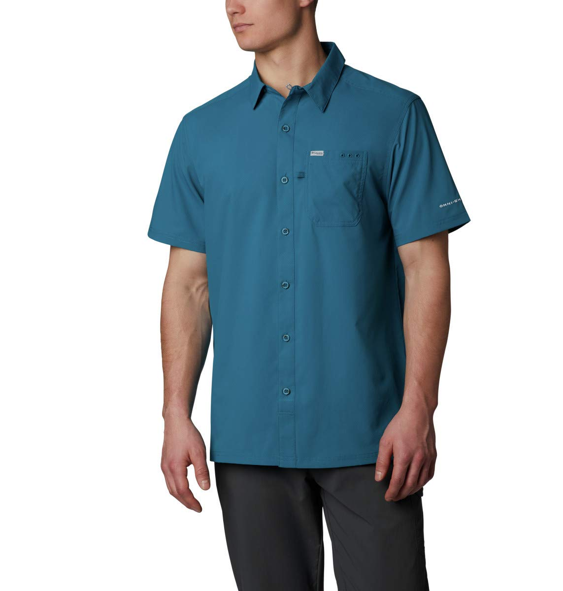 Columbia Men's Slack Tide Camp Shirt, Dark Turquoise, Small by Columbia